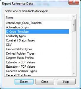 Export der Code Generierungs Templates für C