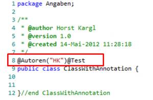 Java Annotationen aus dem Modell als Code Generiert