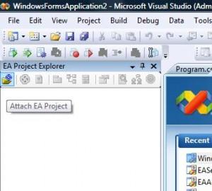 Öffnen eines EA Projektes im Visual Studio