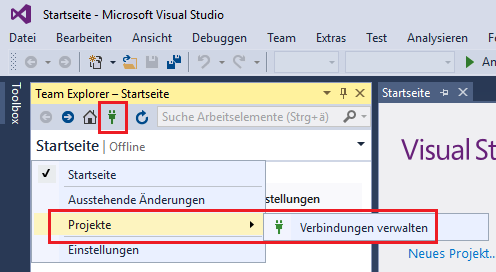 Setup connection to TFS Team Project Collection in Visual