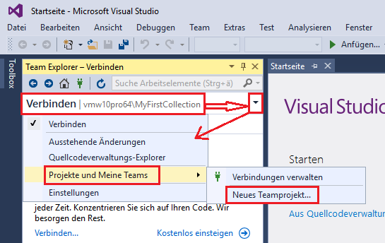Create new TFS Team Project using Visual Studio – Enterprise