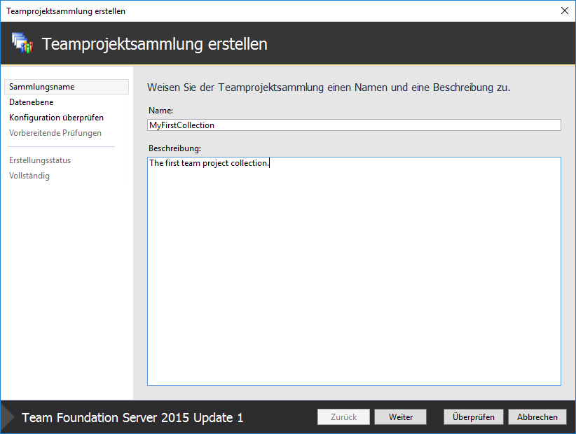 Create new TFS Team Project Collection – Enterprise